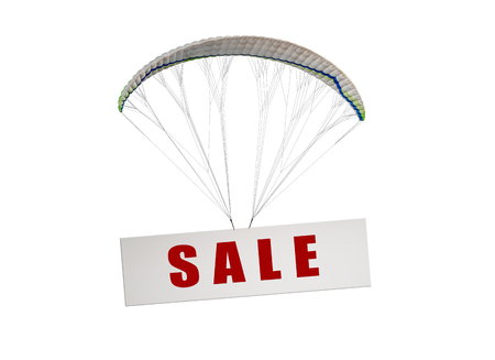white board with text sale flying on parachute on white background, isolated, sale (discount) concept