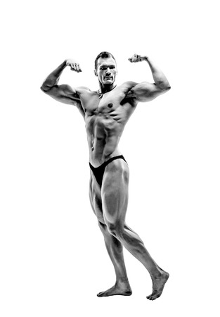 black-and-white photo man bodybuilder, pose on white background, isolated