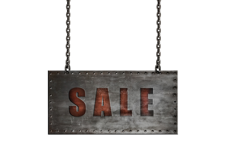 steel board hang by chain with text sele , on white background; isolated, sale (discount) concept Reklamní fotografie - 117854399