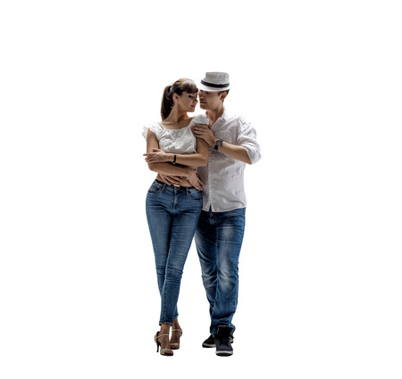 beauty couple dancing social danse ( kizomba or bachata or semba or taraxia) , on white background, isolated