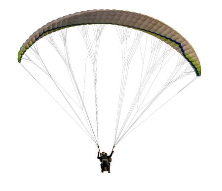 flying on paraplane on white background, isolated