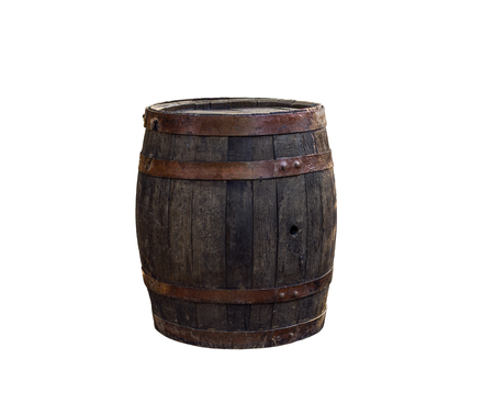 one vintage wooden barrel, on white background, isolated