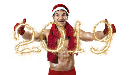 fitness sexy Santa Claus in red woollen scarf, 2019 concept, on white background, isolated