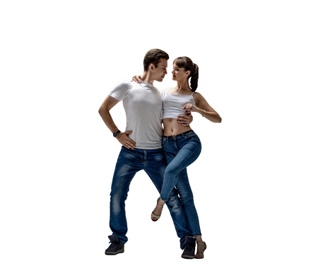 beauty couple dancing social danse ( kizomba or bachata or semba or taraxia) , on white background, isolated Reklamní fotografie - 118709266