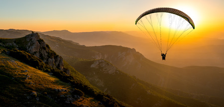 Paragliding concept, Beauty nature mountain landscape Crimea, horizontal photo