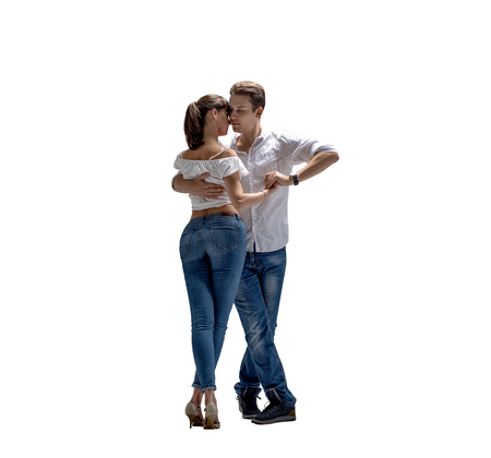 beauty couple dancing social danse ( kizomba or bachata or semba or taraxia) , on white background, isolated Reklamní fotografie - 118709323