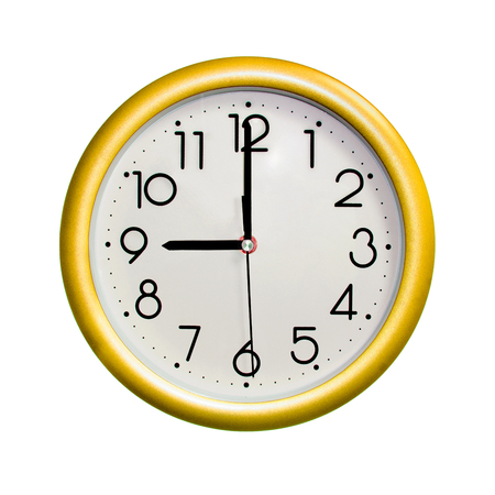 nine oclock, photo circle yellow wall clock, on white background, isolated
