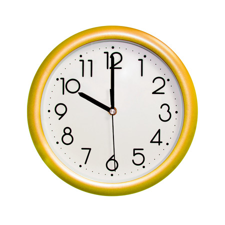 photo round yellow clock, on white background, isolated