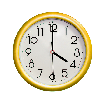 four oclock, photo circle yellow wall clock, on white background, isolated
