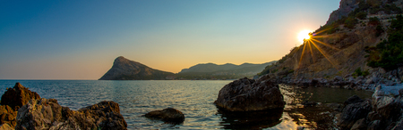 Beauty nature sea landscape Crimea, horizontal panorama photo, panoramic view
