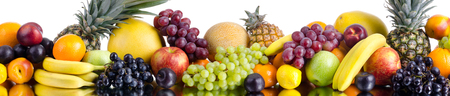 still life of big heap multi-coloured fruits , on white background, horizontal wide kitchen panel