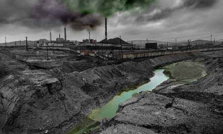 landscape pollution of the environment emission of  industrial plant