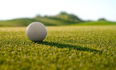golfbal op golfbaan, achtergrond van groen gras, minimalisme concept Stockfoto