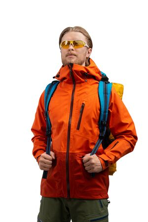 Tourist - backpacker with backpack and touristic equipment ( clothes ), on white background, isolated. Travel and vacation concept Stock Photo