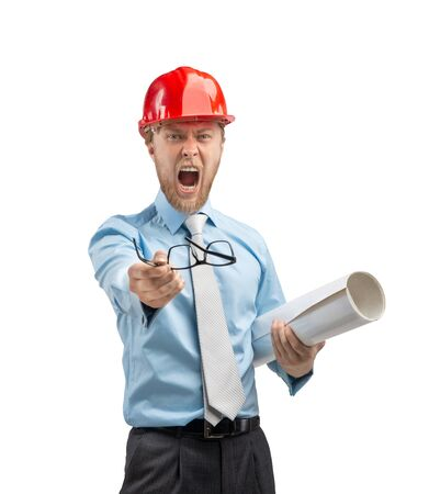 architect worker or engineer man in red construction helmet with drawing - draft aggressive shouting, on white background, isolated