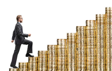 Businessman steps up stairs made of gold coins (money), on white background, isolated Stock Photo