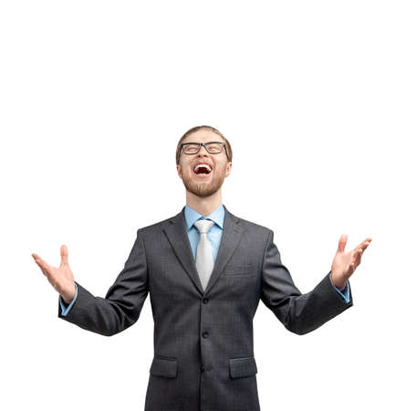 One fun businessman or office worker exults and shout, on white background, isolated. Triumphing and winner concept. Stock Photo