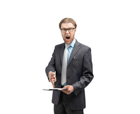 portrait aggressive chief, boss or businessman swearing and screaming (shout), on white background, isolated
