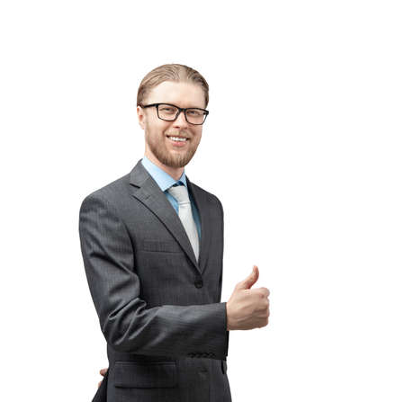 portrait one man businessman in glasses spectacles, showing gesture thumb up and look on camera, on white background, isolated