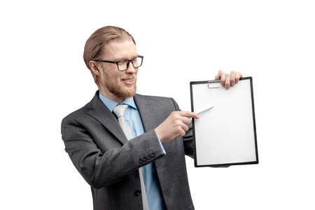 portrait businessman holds in hand empty white sheet, on white background, isolated