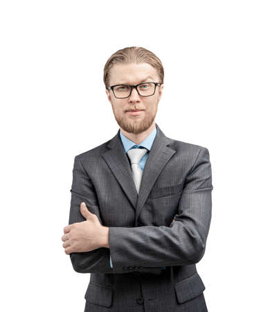 vertical portrait one man businessman or office-worker in glasses spectacles, stand in pose - hands in pockets, on white background, isolated