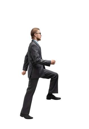 one man businessman walked, on white background, isolated Stock Photo