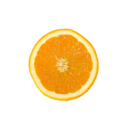 one yellow cut orange, on white background, isolated