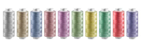 wide photo group of multicolored reel of thread, on wite background, isolated