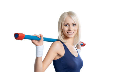 portrait happy beauty fitness girl on white background, isolated Stock Photo