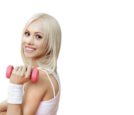 portrait happy cutie fitness girl on white background, isolated. Fitness concept
