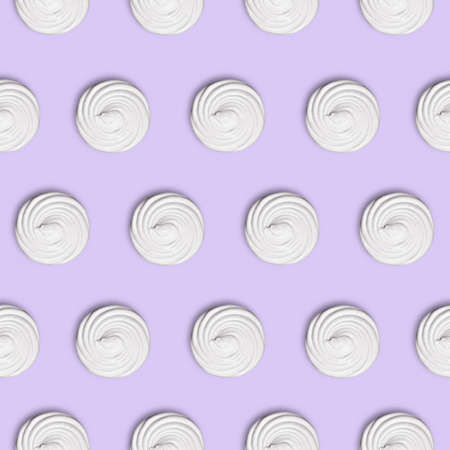 square seamless lilac, mauve background with beauty white marshmellow - zephyr (top view), food minimalism concept Stock Photo