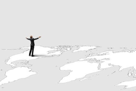 One happy businessman or office worker on map world background. Triumphing and winner business concept.