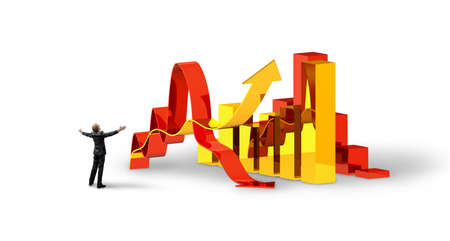 One happy businessman or office worker looking on big economic chart. Business concept.