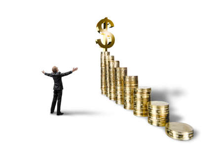 triumph businessman with many rouleau gold coin on white background, isolated. business success concept