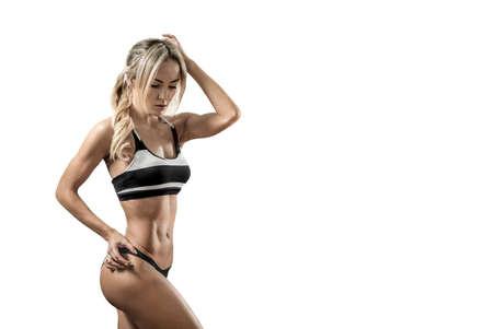 Portrait beautiful fitness woman on white