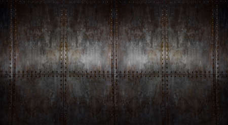 background of texture rusty steel covering with rivet, horizontal iron background