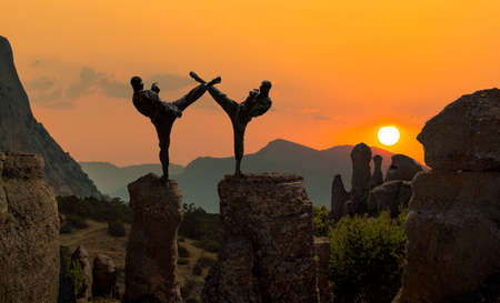 two japanese ninja in black dress, fighting on beautiful mountains landscape background Stock Photo