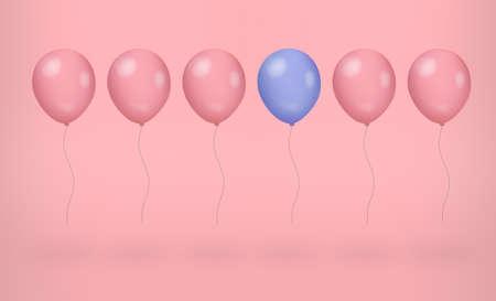 many pink fly balloon and one blue, concept distinguish Banco de Imagens