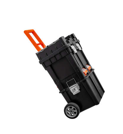 one big black toolbox for carried construction tools on wheels, on white background, isolated
