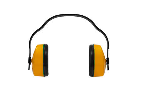 construction protective earmuffs for hearing protection, on white background, isolated