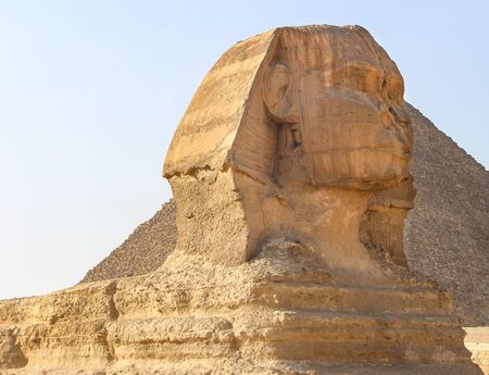 The Sphinx and pyramid in Gaza, Egypt.