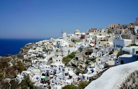 Amazing white houses of Santorini photo