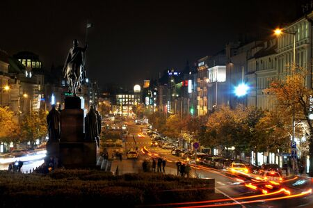 Wenceslas square in the night with transport lights             photo