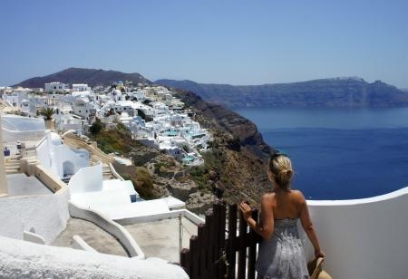 Girl on Santorini, Oia, Greece                 photo