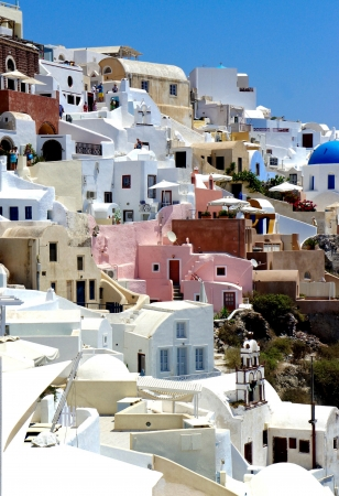 Amazing white houses of Santorini, Greece photo