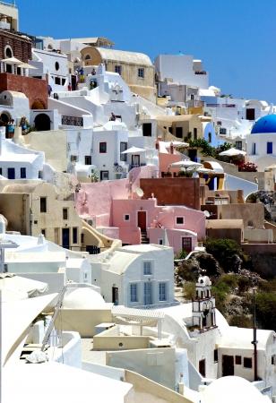 Amazing white houses of Santorini, Greece Stock Photo