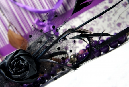 Luxury glamour women accessories on the violet background Stock Photo - 14239385