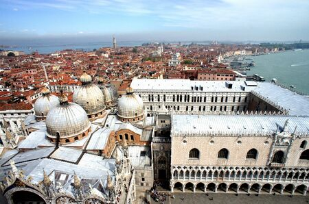 Venice roofs in summer sunny day, Italy                   photo