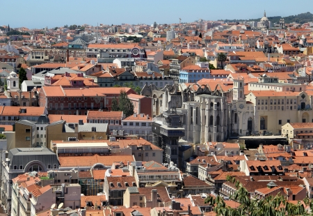 Lisbon panorama, Portugal – buildings, roofs, churches