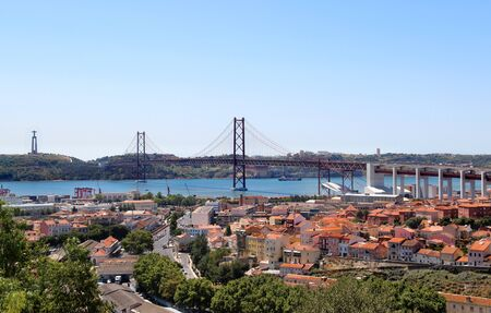 Lisbon, Portugal, 25th of April Bridge panorama photo